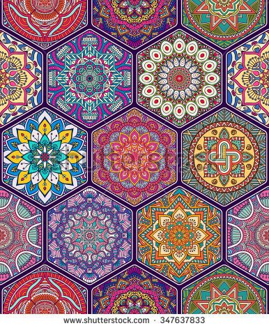 Seamless pattern. Vintage decorative elements. Hand drawn ...