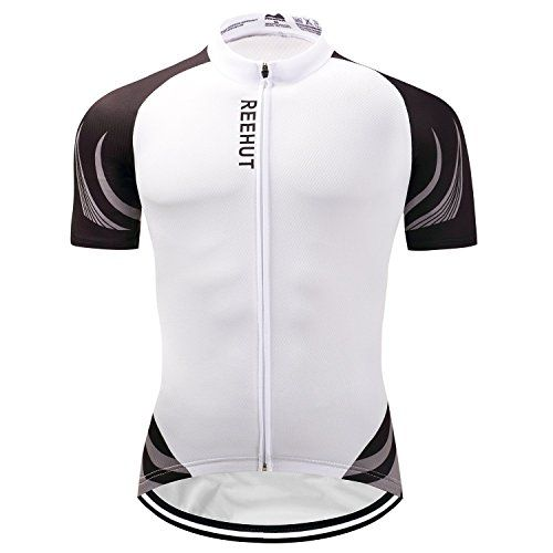 Reehut Mens Breathable Cycling Jersey Biker Short Sleeve Shirt Quick Dry Full  Zip Men s Bicycle Jacket With Pockets 98d5710ad