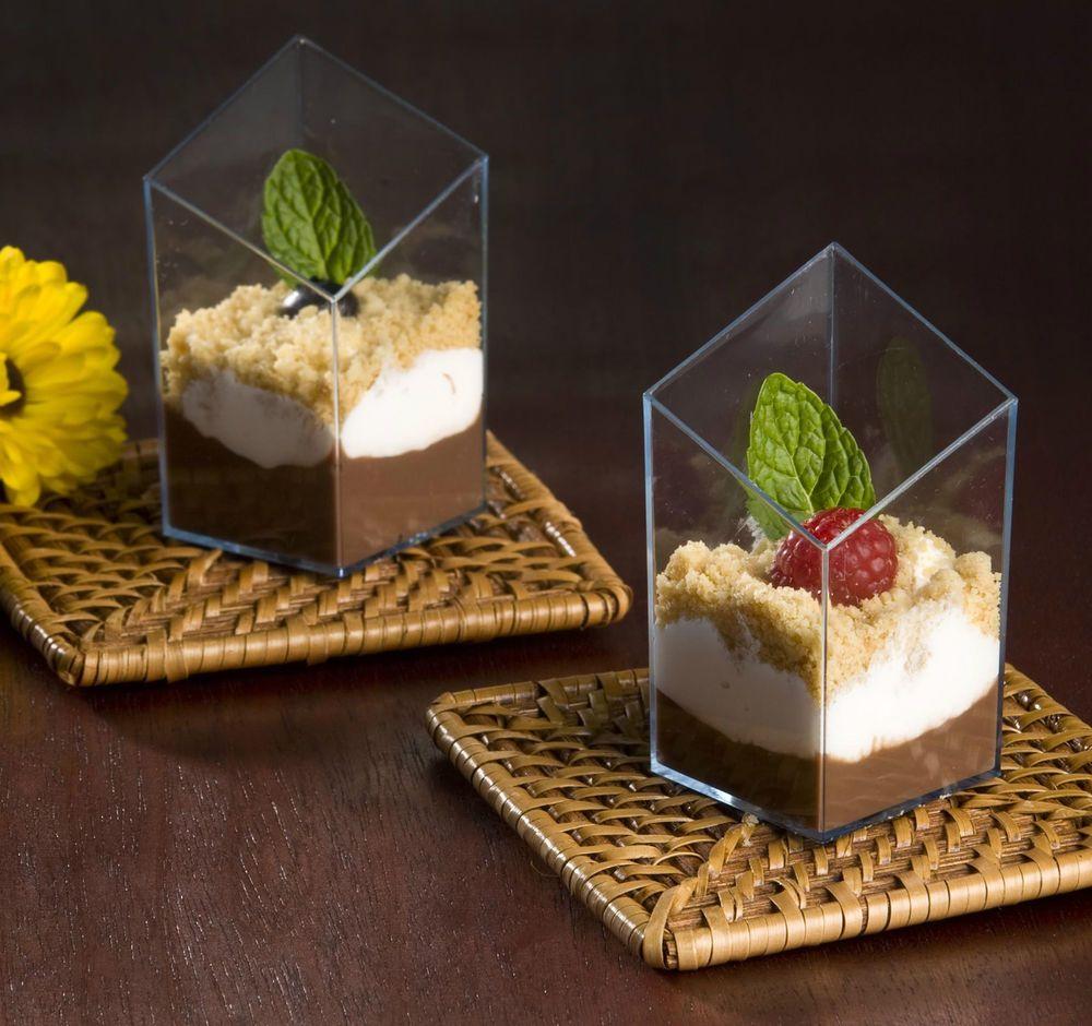 2.5 oz Diamond Cube Plastic Mini Shot Glass / Dessert Cup Clear 200 Pcs Party