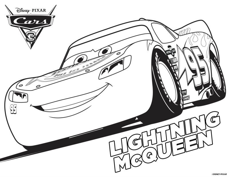 Disney Cars 3 Lightning McQueen Coloring Page | Printable Coloring ...