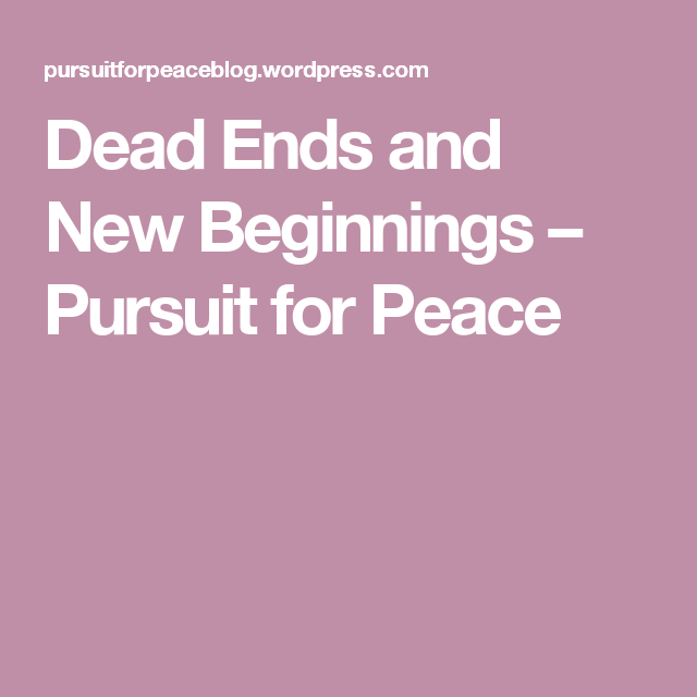 Dead Ends and New Beginnings – Pursuit for Peace