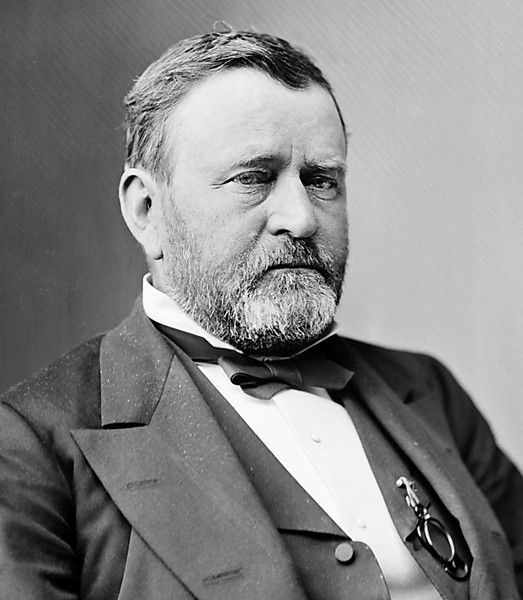 Ulysses Simpson Grant was born April 27, 1822 in Point Pleasant, OH, and died July 23, 1885 in Wilton, NY. He served as 18th President of the United States from March 4, 1869 to March 4, 1877, serving two full terms. He was affiliated with the Republican party. His vice-presidents were Schuyler Colfax, Jr. (1869-1873) and Henry Wilson (1873-1877). His first lady was Julia Boggs (Dent) Grant, his wife.