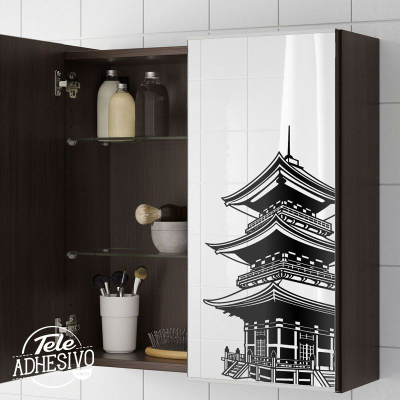 Vinilo en espejo de ba o de mueble ikea wc decoracion for Mueble espejo bano ikea