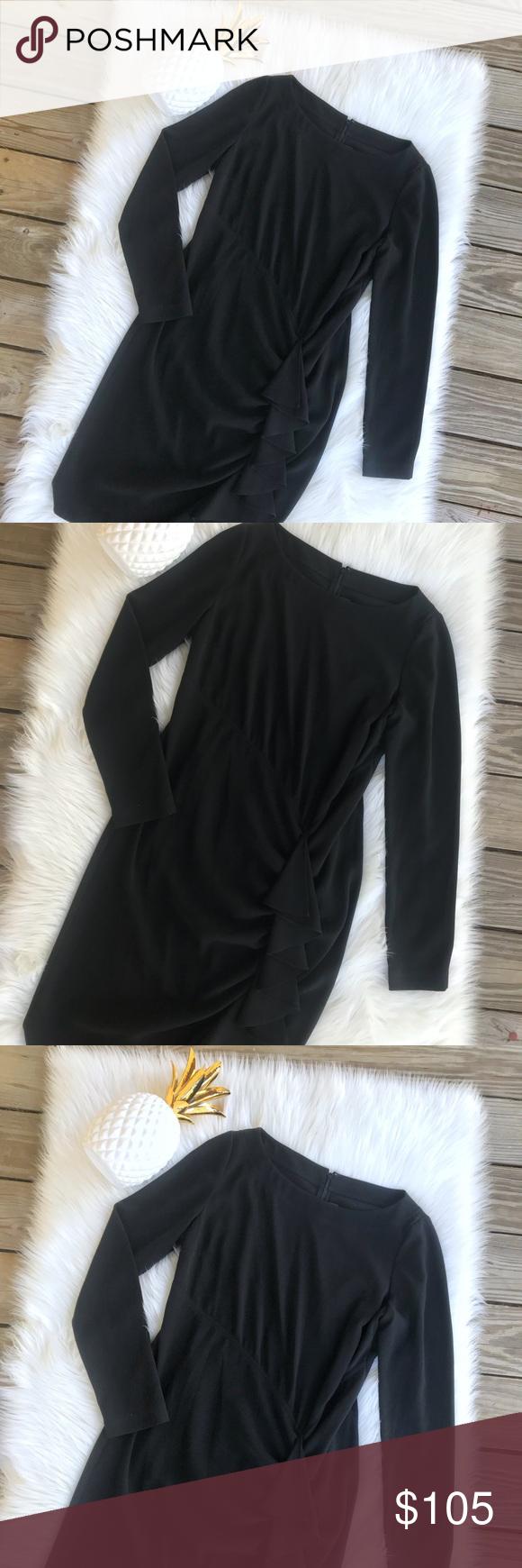 St john couture black long sleeve ruffle dress absolutely stunning