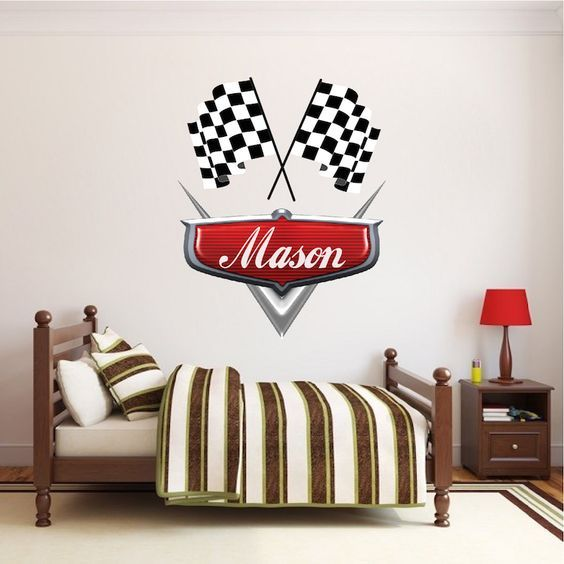 Personalized Boys Race Car Name Decal Car Wall Decals Automotive Decals Kids Room Wall Murals Race Track Wall Stickers Kids Room Wall Kids Room Wall Decals Kids Room Wall Murals