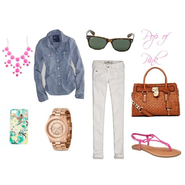 Chambray top, white jeggings, MK watch, J.Crew bubble necklace, MK Hamilton, Ray Bans and a pop of pink outfit.