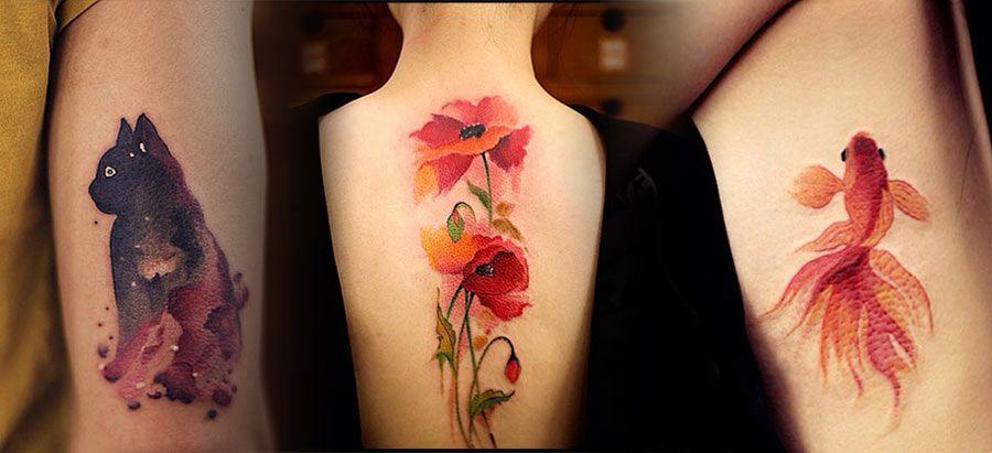 Les magnifiques tatouages estampe et aquarelle de Chen Jie