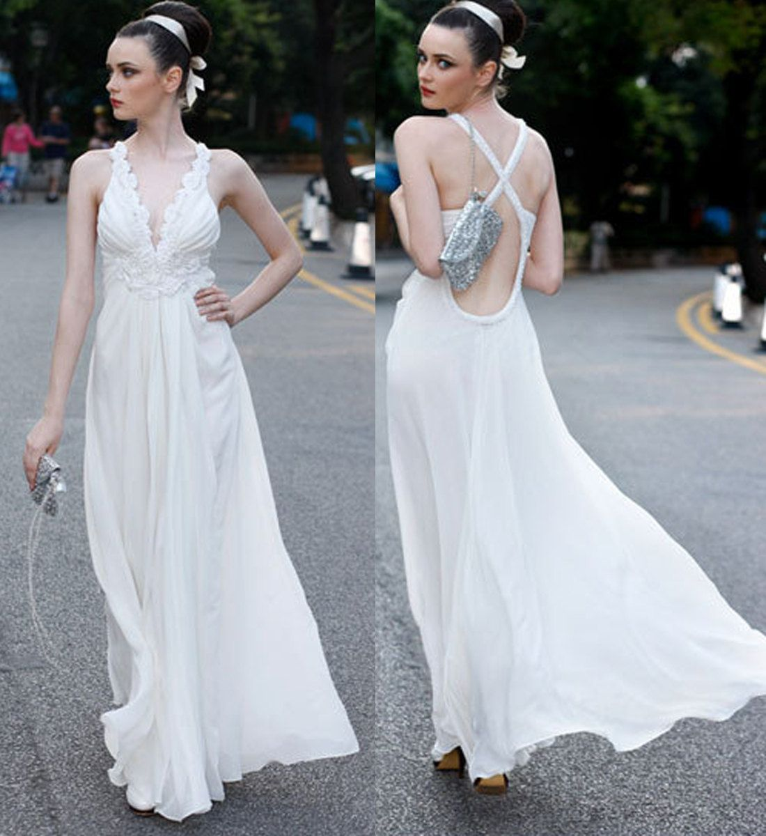 2013 white summer beach wedding dress/Long Prom Dress/Evening ...