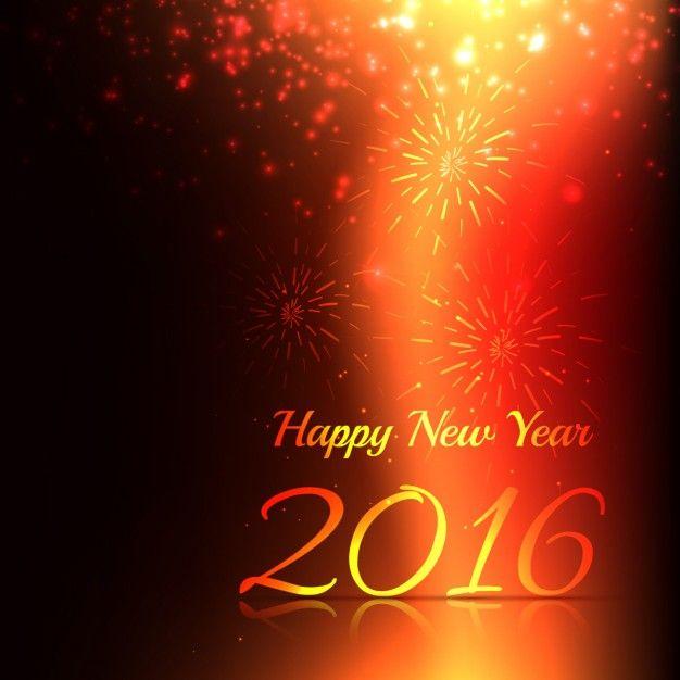 Tarjeta De Feliz Ano Nuevo Con Fuegos Artificiales Vector Gratis