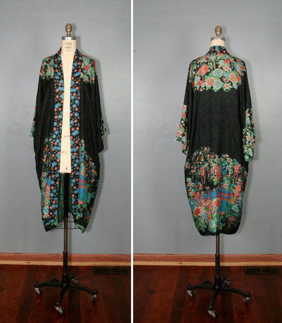 1920s kimono   art deco robe   silk kimono   BONFILS oriental robe ... 15d2d8e66