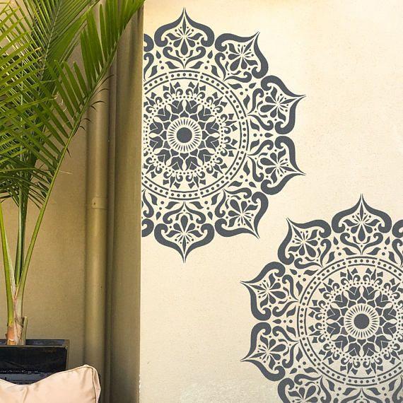 Mandala de manali pochoir indien plancher mur meuble - Pochoir peinture meuble ...