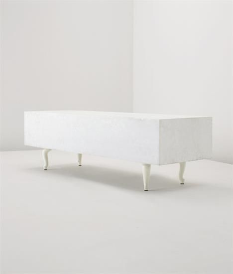 MARCEL WANDERS 'Pizzo Carrara Bench', 2007  Sandblasted Carrara marble, painted steel.  39 x 130 x 45 cm. (15 3/8 x 51 1/8 x 17 3/4 in.) Number six from the edition of 20.  Underside with metal plaque with artist's mark and '6 / 20'.