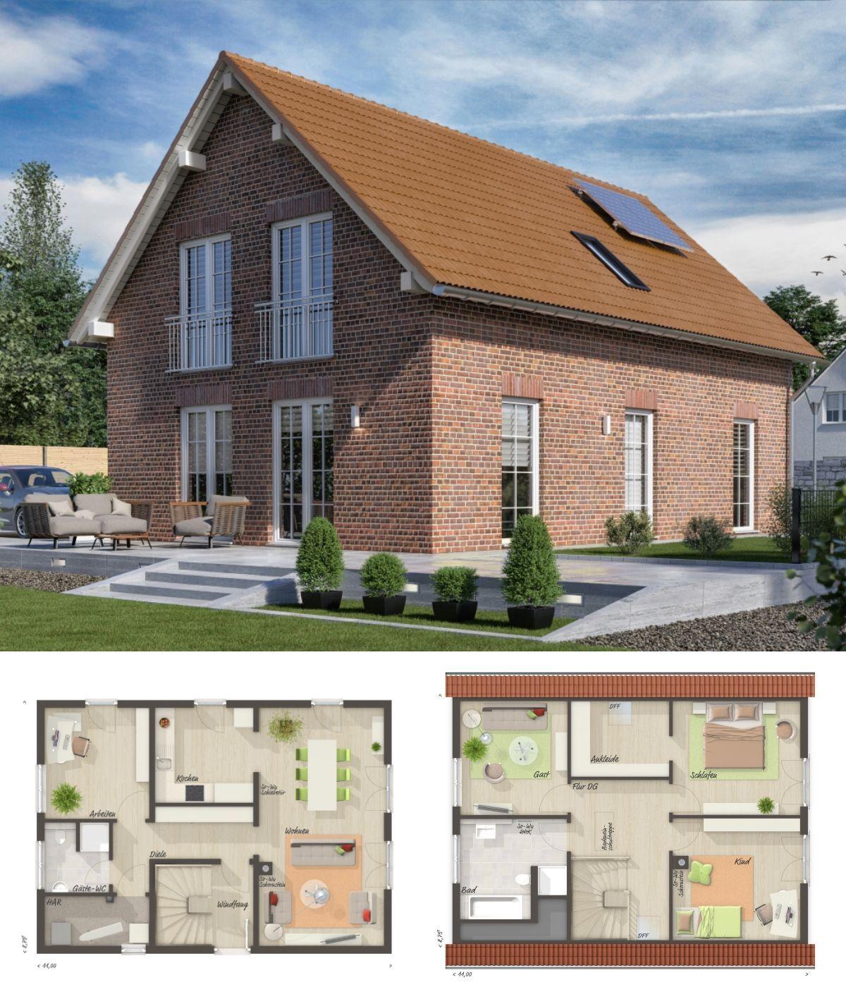 Einfamilienhaus Neubau im Landhausstil mit Klinker Fassade