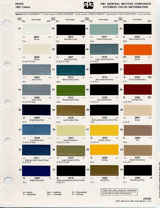 Gm Paint Codes >> Gm Auto Color Chips Color Chips Paint Codes Gm Auto