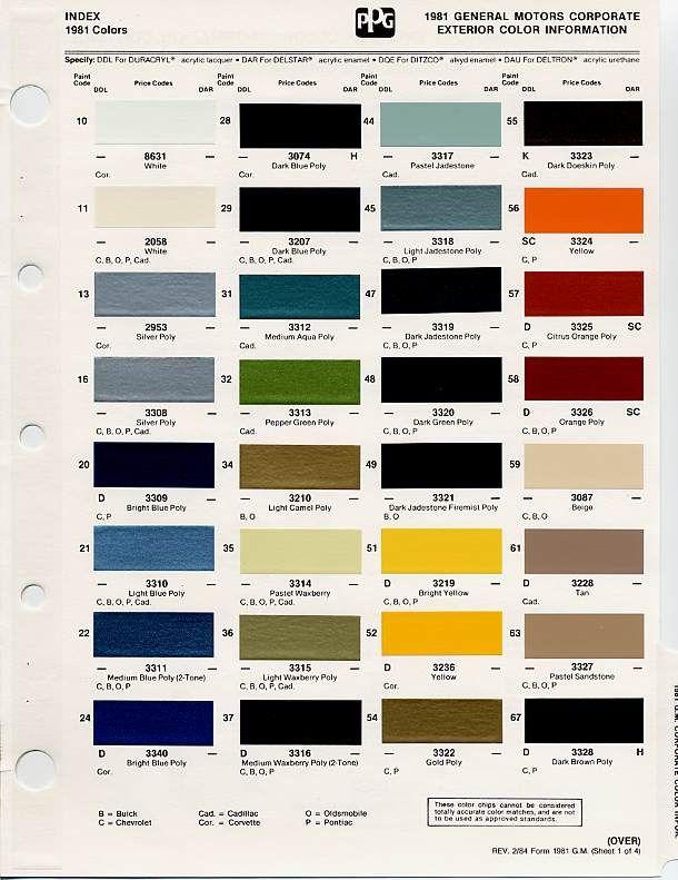 gm auto color chips Color chips \ Paint codes GM - Auto paint - sample general color chart