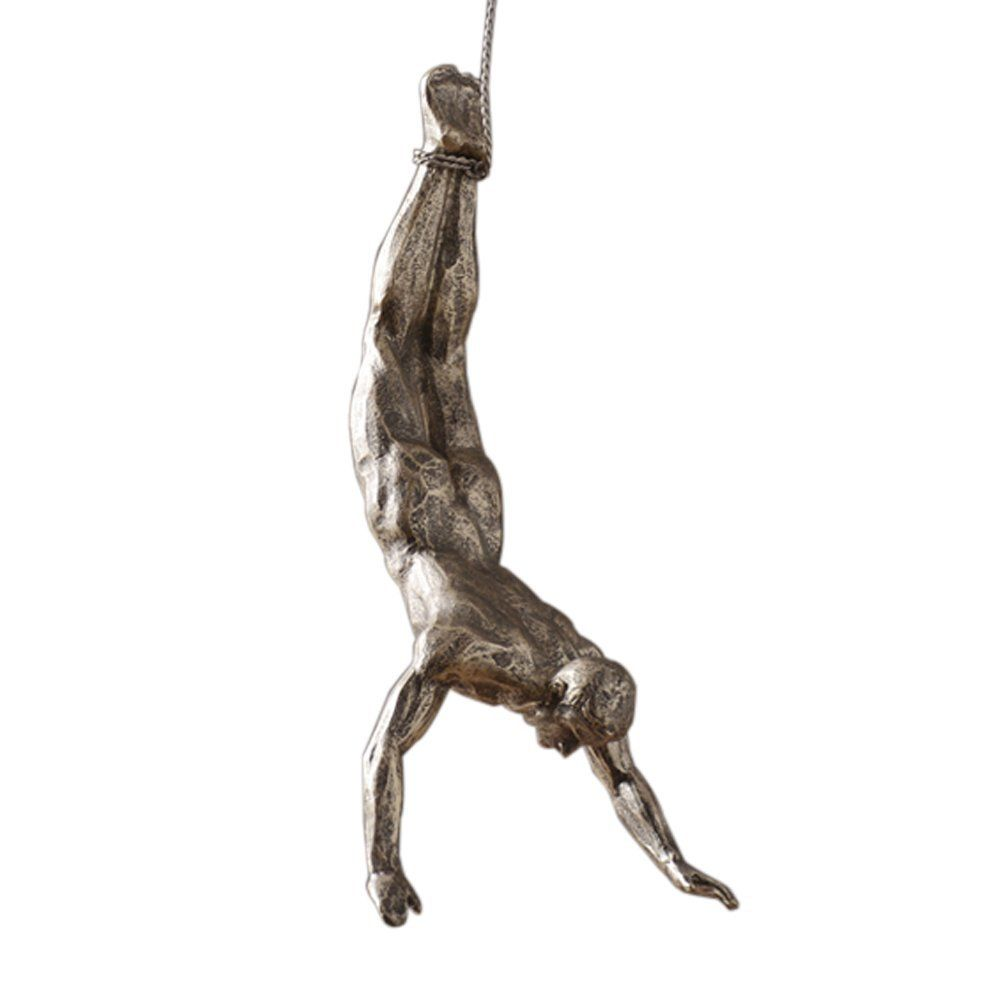 Olpchee Nordic Modern Simplicity Resin Creative Climbing Man Wall Sculpture Hand Finished For Art Home Decor Silver Rust Posture C