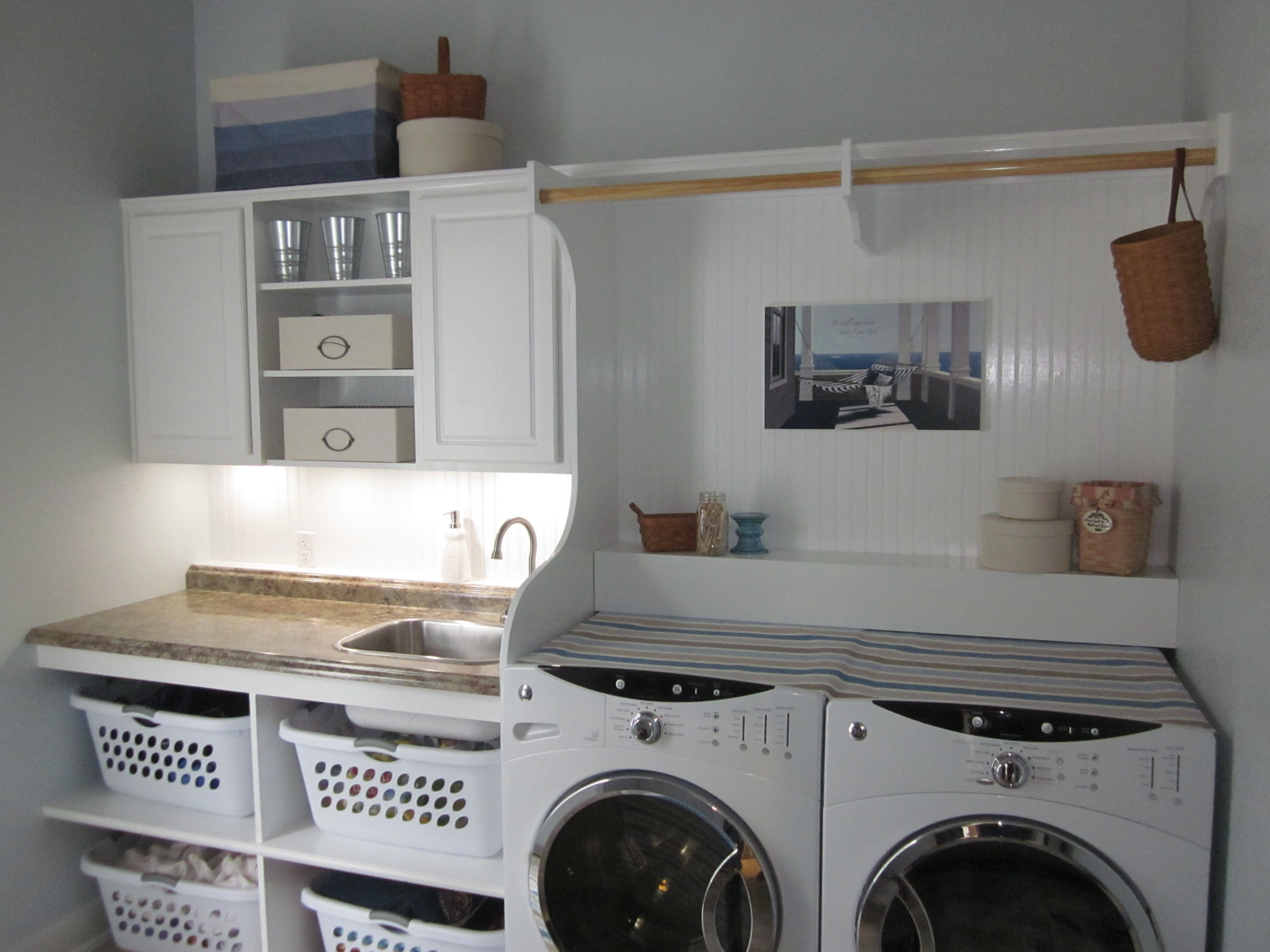 Our Completed Laundry Room Light Blue Walls Beadboard Backsplash