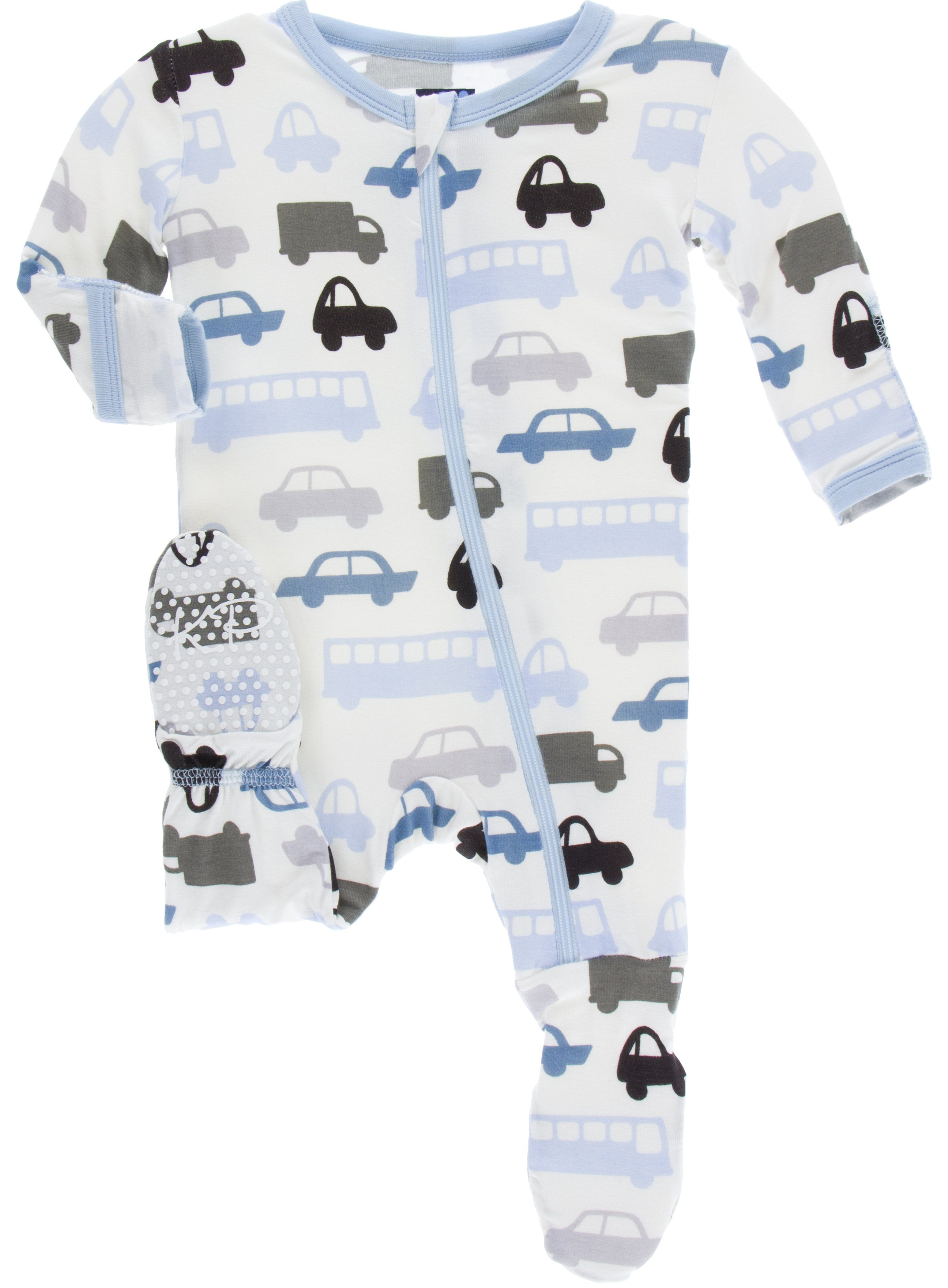 KicKee Pants Natural Cars & Trucks Footie with Zipper