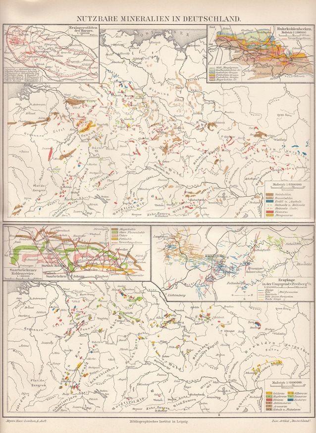 Details Zu Landkarte Nutzbare Mineralien In Deutschland 1899