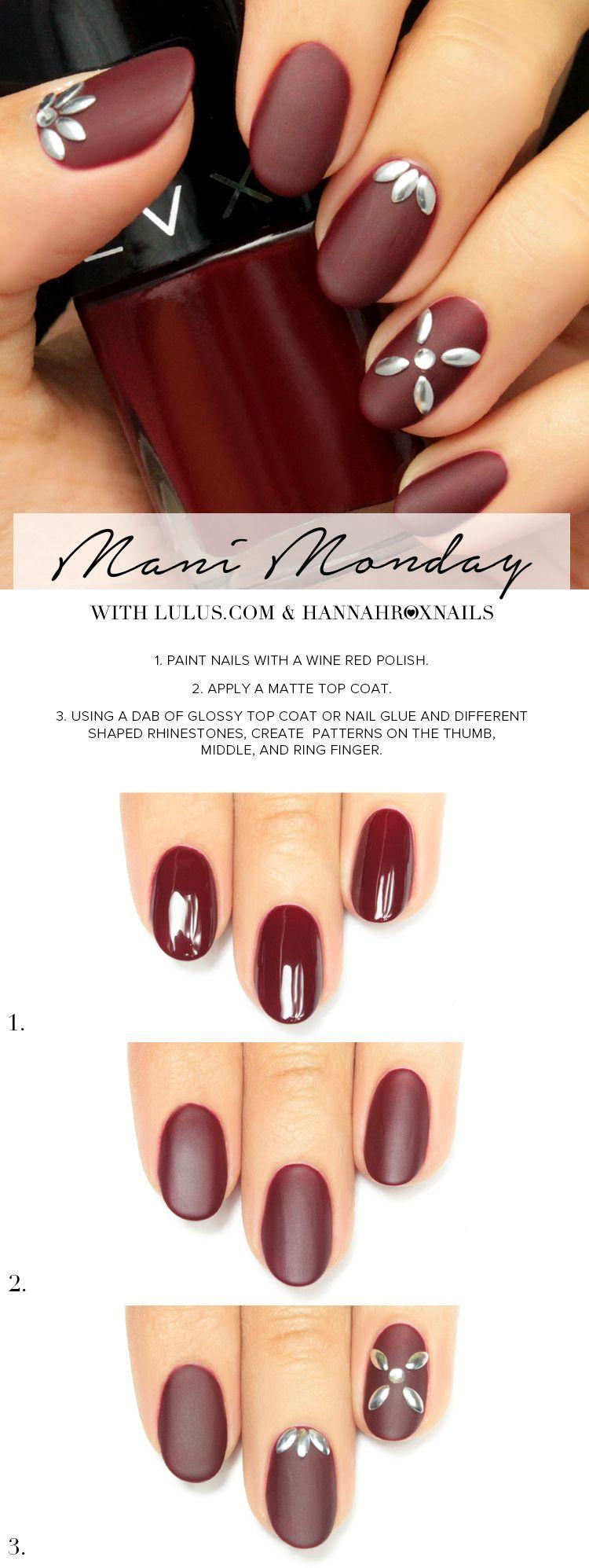 Mani Monday: Matte Burgundy Nail Tutorial | Tutorials, Mani pedi and ...