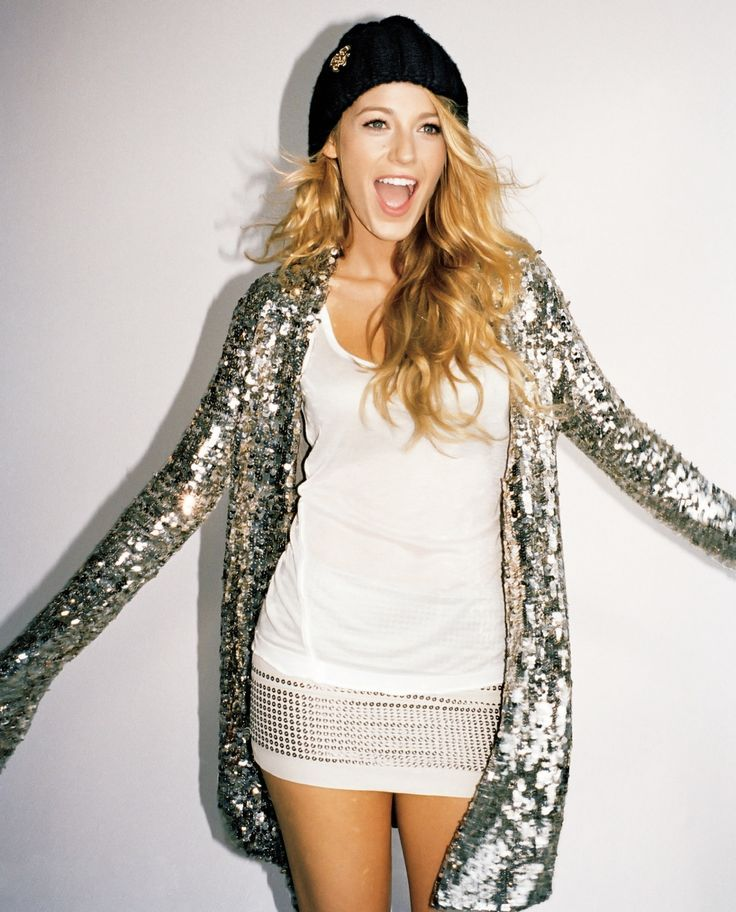 Blake Lively wearing Silver Sequin Open Cardigan, White Tank ...