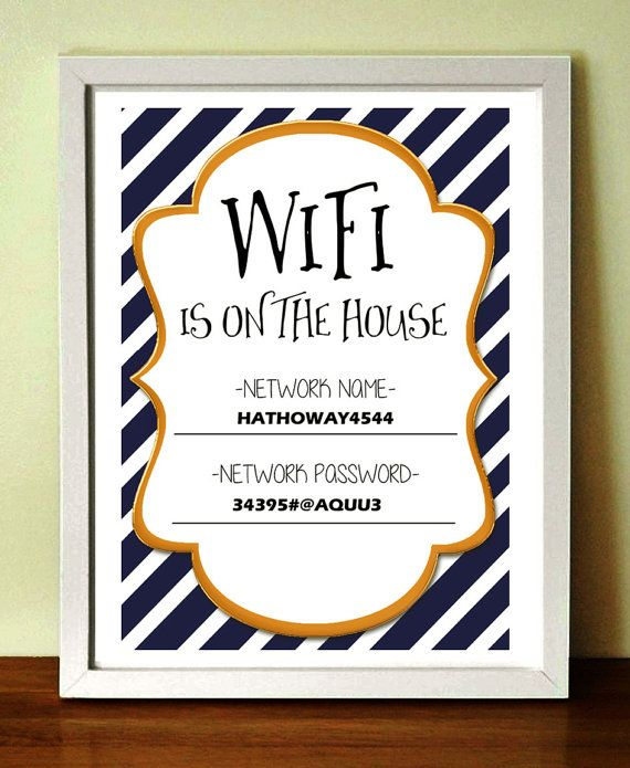 Wifi password sign colors available Wifi password sign by Wimbsy  Guest room ideas  Guest room