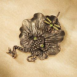 Pewter Frog Lily Pad Brooch
