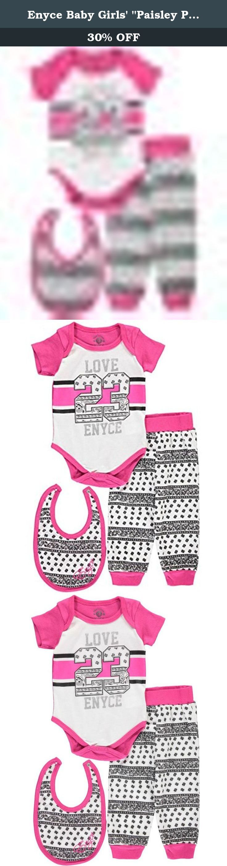 """Enyce Baby Girls' """"Paisley Prettified"""" 3-Piece Layette Set - fuchsia, 6 - 9. They'll love the soft construction and fun accents of this Enyce 3-piece layette set! Enyce 3-piece layette set Short-sleeved bodysuit with bandana print (100% cotton) Joggers with elastic waistband (100% cotton) Bib with embroidery and snap closure (100% cotton) Machine wash cold, inside out Imported."""