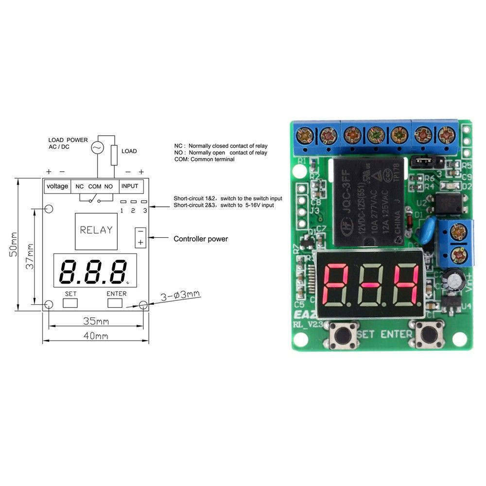 Common Terminal In Relay 12v Dc Multifunction Plc Counting Cycle Timer Control Module Delay Time Switch Voltage Detection