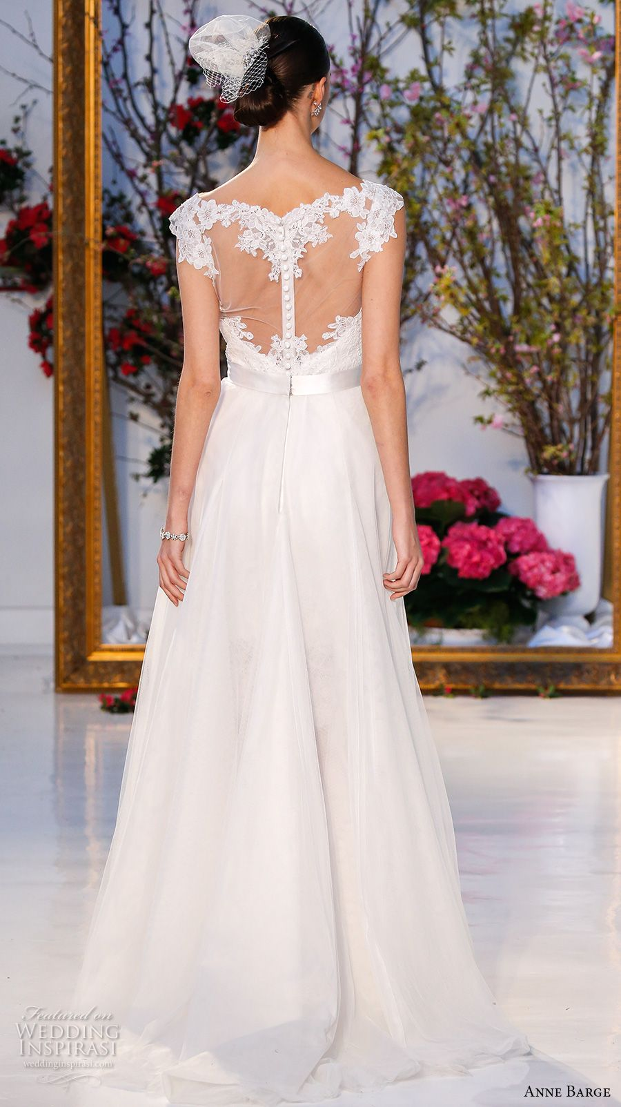 Lace wedding dress with cap sleeves sweetheart neckline  Anne Barge Spring  Wedding Dresses  Anne barge Wedding dress