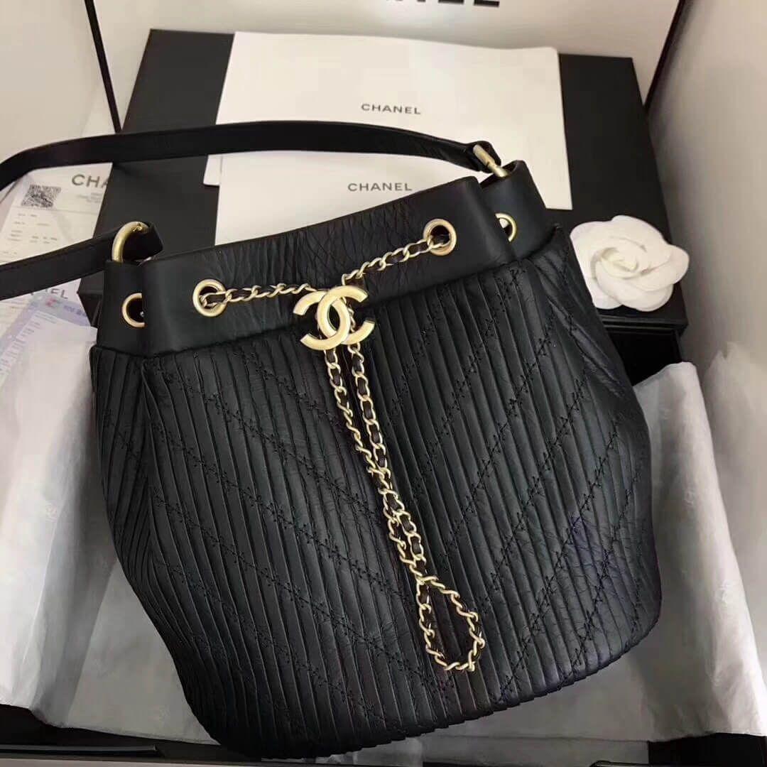 df036ab52f4 Chanel Coco Pleats Calfskin Drawstring Bag A91759 Black 2018 Handbags On  Sale, Handbags Online,