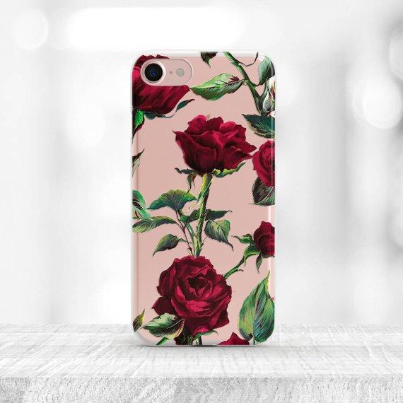 huge discount 6333c d6d4f Floral iPhone 7 Case Roses iPhone 7 Plus Case clear iPhone XS Case ...