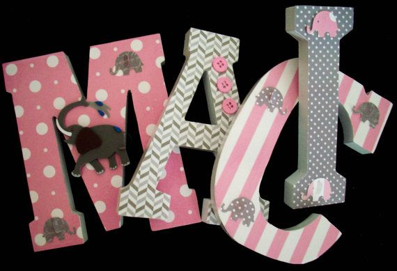 Elephants Pink Grey Wood Letters Wall Letters Nursery Decor