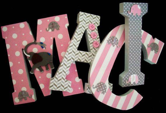 Elephants Pink Grey Wood Letters Wall Nursery