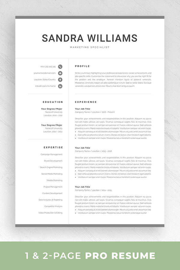 Professional Resume Template For Word Modern Marketing Cv Etsy In 2020 Resume Template Word Reference Page For Resume Resume Template Professional