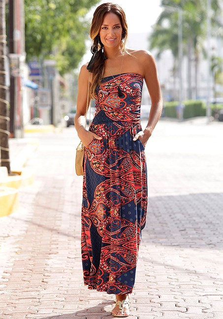 b5d23a68f7 Paisley Bandeau Maxi Dress from LASCANA women's clothing. Feel sexy and  confident in our beautiful beachwear. #bandeau #maxidress #dress #summer # beach ...