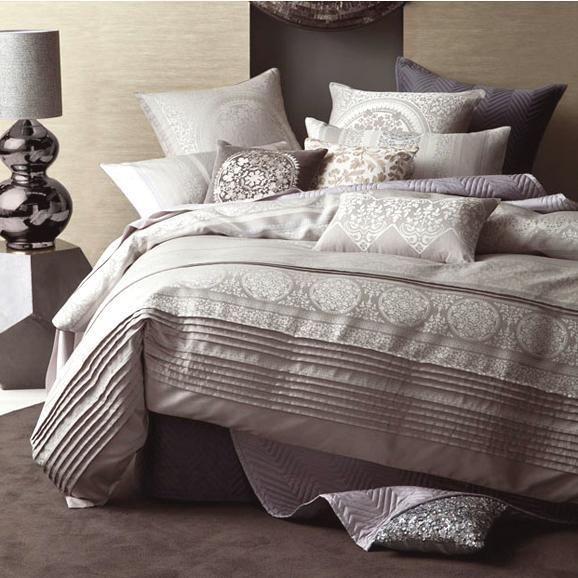 Linen House Nadina Grey Jacquard Queen Super King Quilt Doona Duvet Cover Set