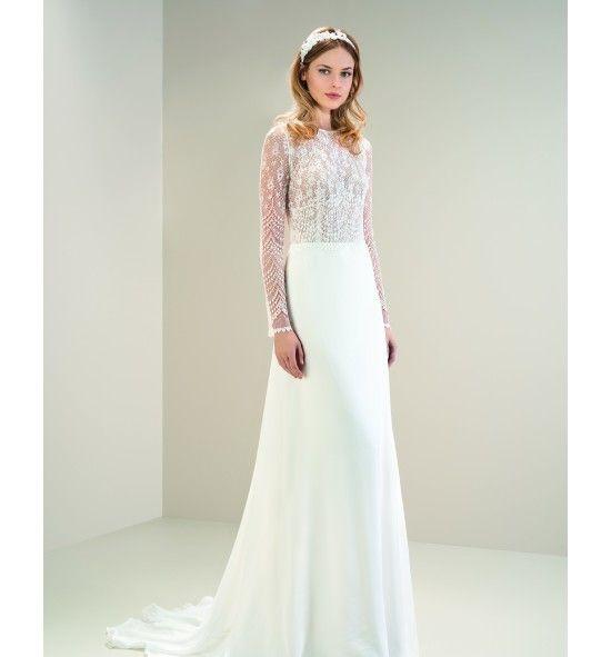 modelo 8025 de jesús peiró. vestido de novia de inspiración boho