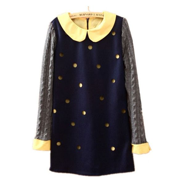Navy Long Sleeve Hollow Polka Dot Dress ($34) ❤ liked on Polyvore