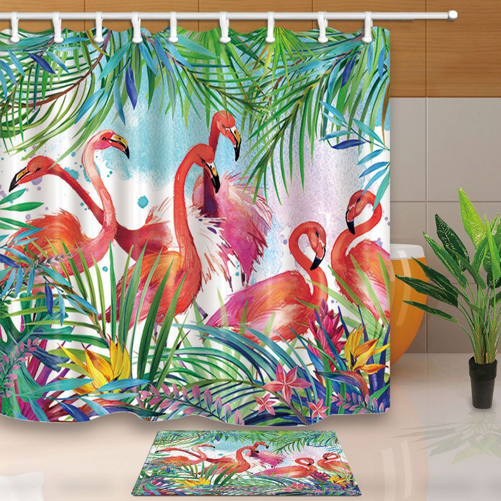 Details About Flamingos And Tropical Plants Shower Curtain