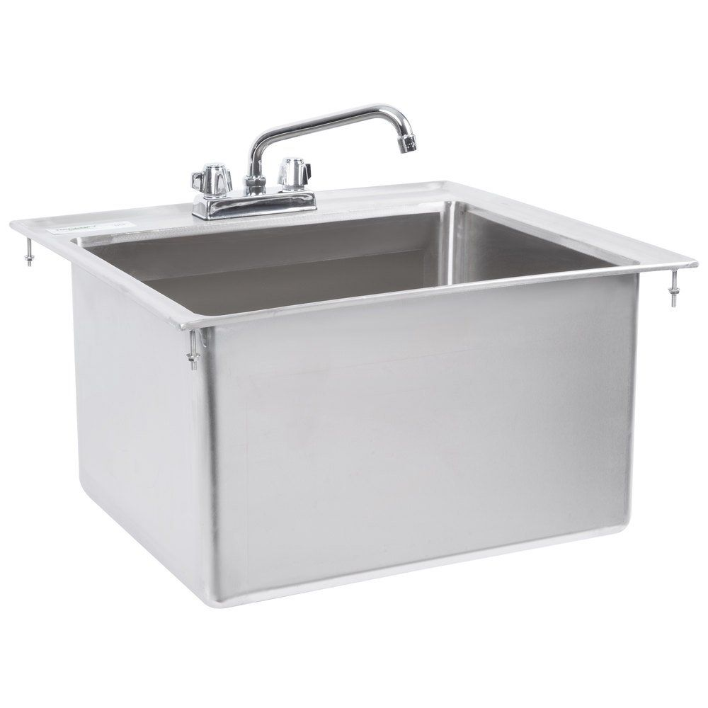 Regency 20 X 16 X 12 16 Gauge Stainless Steel One Compartment Drop In Sink With 8 Faucet In 2020 Sink Drop In Sink Faucet