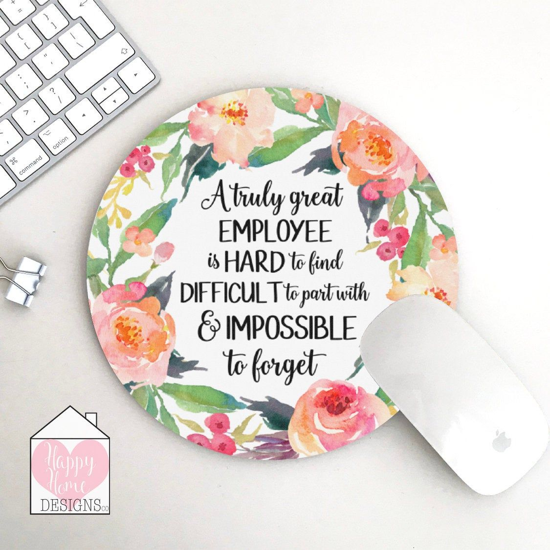 Gift For Employee, Employee Mouse Pad, Office Decor, A Truly Great Employee, Employee Leaving Gift, Mouse Mat For Employee, Floral Mouse Pad
