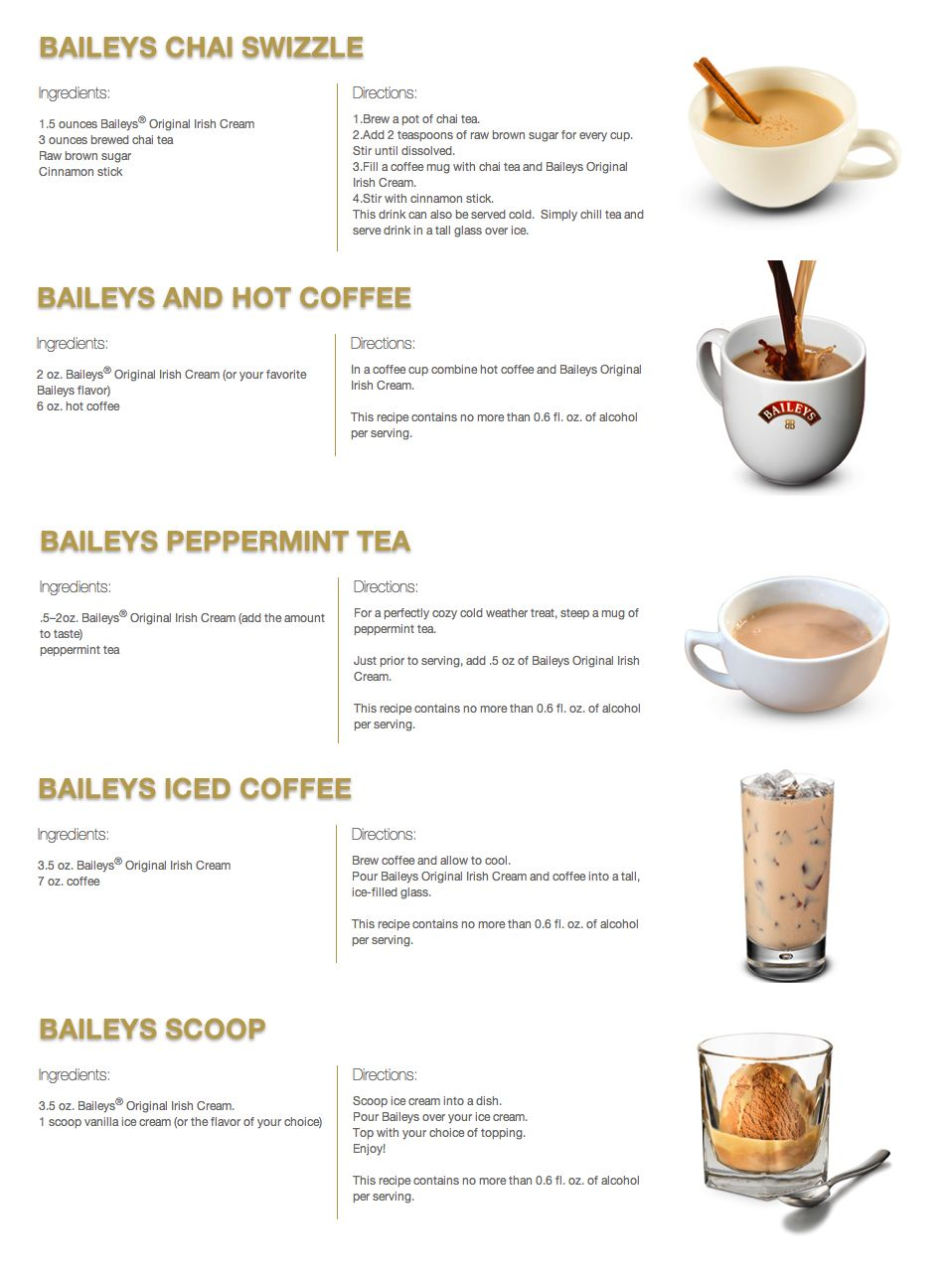 Baileys Added To Some Drinks To Make Them Even Better