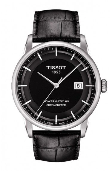 Tissot Luxury Automatic COSC Men's Chronometer Black Dial Watch with Black Leather Strap 1075