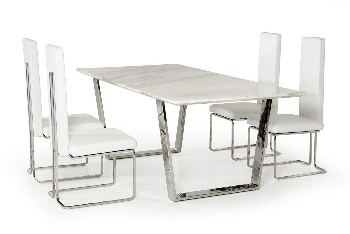 Natural White Marble Top and Chrome Legs Dining Table Modern