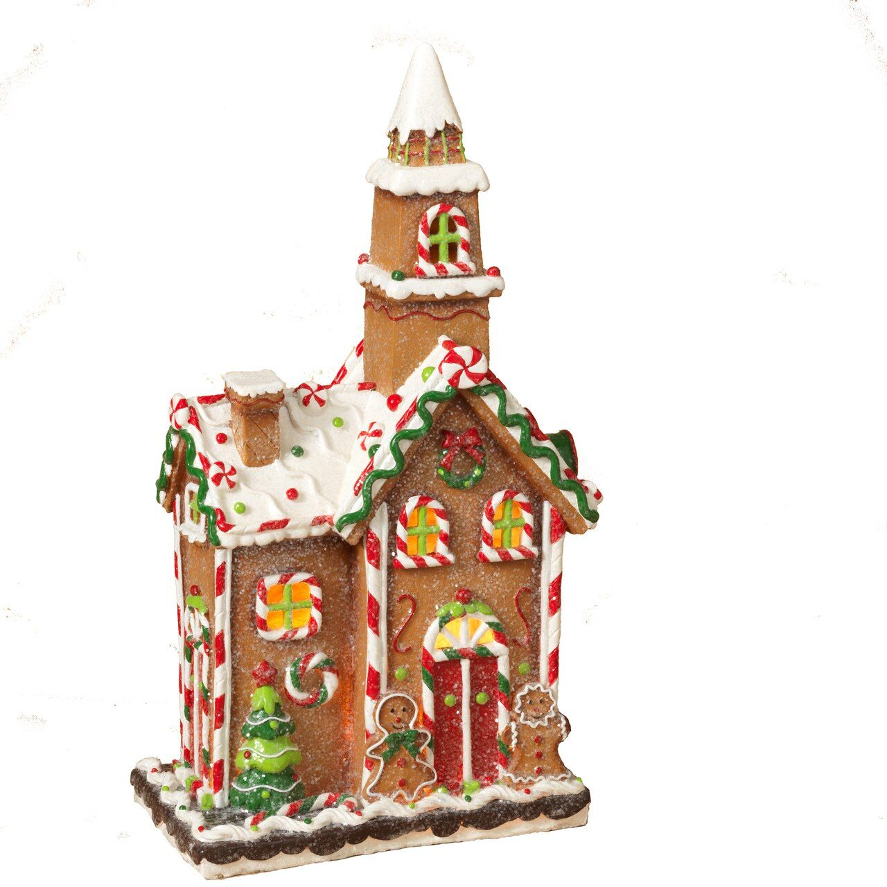"22"" Electric Lighted Gingerbread Church Christmas Figure"