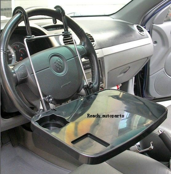 Universal Folding Vehicle Interior Plastic Car Seat Table Drink Food Cup Tray Neutral