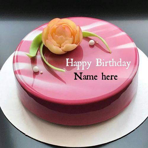 Generate Sister Name On Mirror Glazed Rose Birthday Cake Awesome