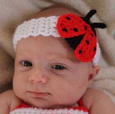 Hecho A Mano Crochet baby/toddler Lady Bug Diadema * eliges tamaño *