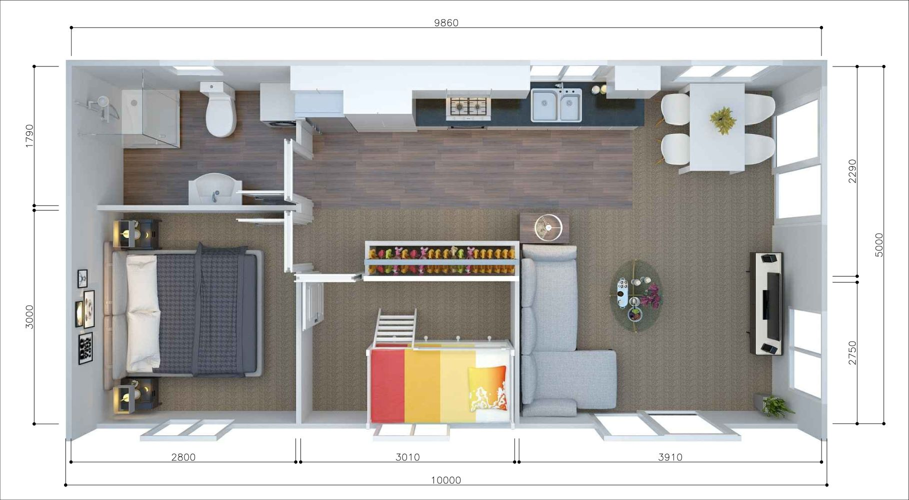 This contemporary adobe style house plan has two bedrooms